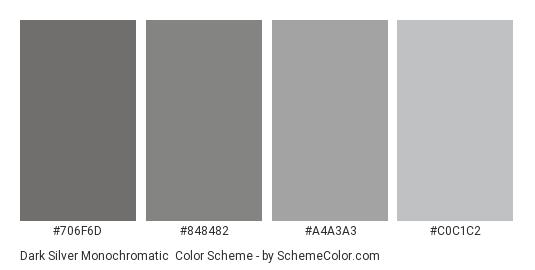 Dark Silver Monochromatic - Color scheme palette thumbnail - #706F6D #848482 #A4A3A3 #C0C1C2