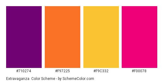 Extravaganza - Color scheme palette thumbnail - #710274 #f97225 #f9c332 #f00078