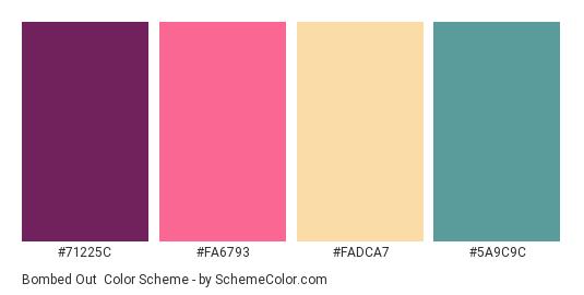 Bombed Out - Color scheme palette thumbnail - #71225C #FA6793 #FADCA7 #5A9C9C