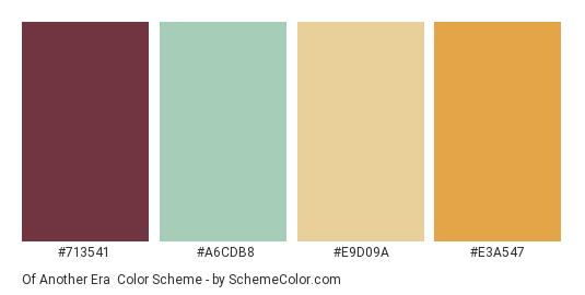Of Another Era - Color scheme palette thumbnail - #713541 #A6CDB8 #E9D09A #E3A547