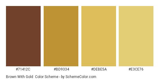 Brown with Gold - Color scheme palette thumbnail - #71412C #BD9334 #DEBE5A #E3CE76