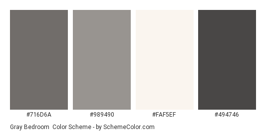 Gray Bedroom - Color scheme palette thumbnail - #716d6a #989490 #faf5ef #494746