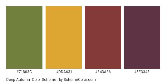 Deep Autumn - Color scheme palette thumbnail - #71803c #dda631 #843a36 #5e3343