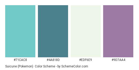 Suicune (Pokemon) - Color scheme palette thumbnail - #71CAC8 #4A818D #EDF6E9 #9D7AA4