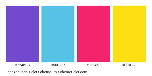 FaceApp Icon - Color scheme palette thumbnail - #724BCC #56C2E6 #F3246C #FEDF12