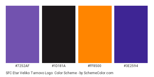 SFC Etar Veliko Tarnovo Logo - Color scheme palette thumbnail - #7252af #1d181a #ff8500 #3e2594