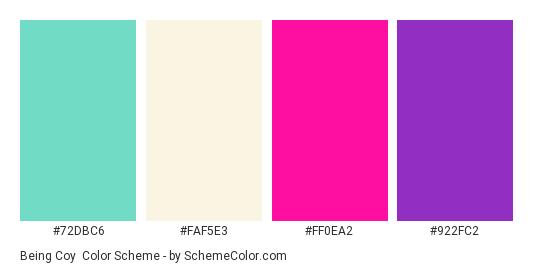 Being Coy - Color scheme palette thumbnail - #72DBC6 #FAF5E3 #FF0EA2 #922FC2