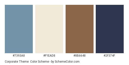 Corporate Theme - Color scheme palette thumbnail - #7393a8 #f1ead8 #8b6648 #2f374f