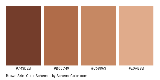 Brown Skin - Color scheme palette thumbnail - #743d2b #b06c49 #c68863 #e0ab8b