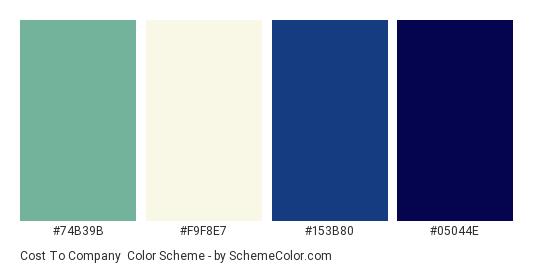 Cost to Company - Color scheme palette thumbnail - #74B39B #F9F8E7 #153B80 #05044E