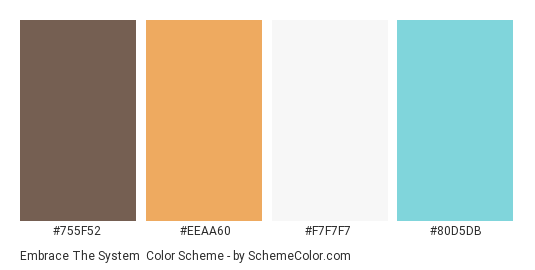 Embrace the System - Color scheme palette thumbnail - #755f52 #eeaa60 #f7f7f7 #80d5db
