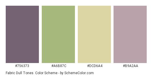 Fabric Dull Tones - Color scheme palette thumbnail - #756373 #a6b87c #dcd6a4 #b9a2aa