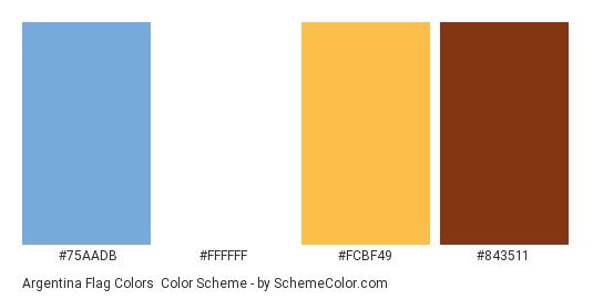 Argentina Flag Colors - Color scheme palette thumbnail - #75AADB #ffffff #FCBF49 #843511