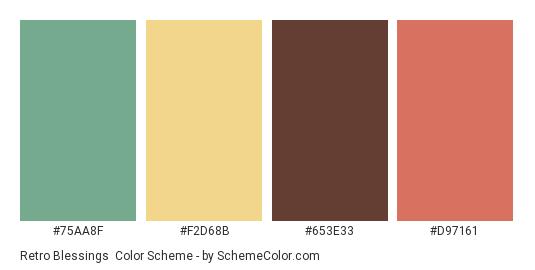 Retro Blessings - Color scheme palette thumbnail - #75aa8f #f2d68b #653e33 #d97161