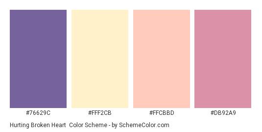 Hurting Broken Heart - Color scheme palette thumbnail - #76629C #FFF2CB #FFCBBD #DB92A9