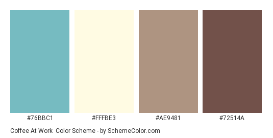 Coffee at Work - Color scheme palette thumbnail - #76BBC1 #FFFBE3 #AE9481 #72514A