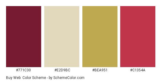 Buy Web - Color scheme palette thumbnail - #771C30 #E2D9BC #BEA951 #C1354A