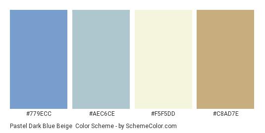 Pastel Dark Blue Beige - Color scheme palette thumbnail - #779ECC #AEC6CE #F5F5DD #C8AD7E