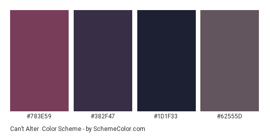 Can't Alter - Color scheme palette thumbnail - #783e59 #382f47 #1d1f33 #62555d