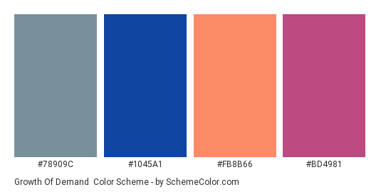 Growth of Demand - Color scheme palette thumbnail - #78909C #1045A1 #FB8B66 #BD4981
