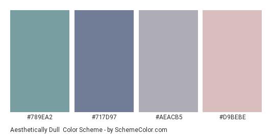 Aesthetically Dull - Color scheme palette thumbnail - #789ea2 #717d97 #aeacb5 #d9bebe