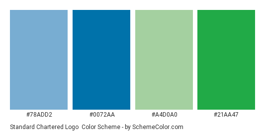 Standard Chartered Logo - Color scheme palette thumbnail - #78ADD2 #0072AA #A4D0A0 #21AA47