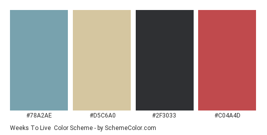 Weeks to Live - Color scheme palette thumbnail - #78a2ae #d5c6a0 #2f3033 #c04a4d