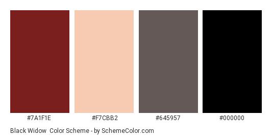 Black Widow - Color scheme palette thumbnail - #7A1F1E #F7CBB2 #645957 #000000