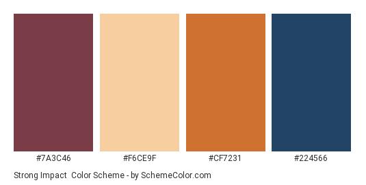 Strong Impact - Color scheme palette thumbnail - #7A3C46 #F6CE9F #CF7231 #224566