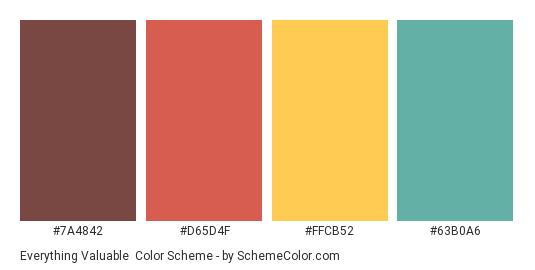 Everything Valuable - Color scheme palette thumbnail - #7A4842 #D65D4F #FFCB52 #63B0A6