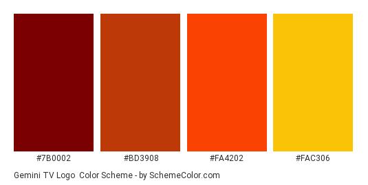 Gemini TV Logo - Color scheme palette thumbnail - #7B0002 #BD3908 #FA4202 #FAC306