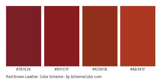 Red Brown Leather - Color scheme palette thumbnail - #7B1E26 #891C1F #92301B #AB381F