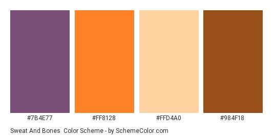 Sweat and Bones - Color scheme palette thumbnail - #7B4E77 #FF8128 #FFD4A0 #984F18