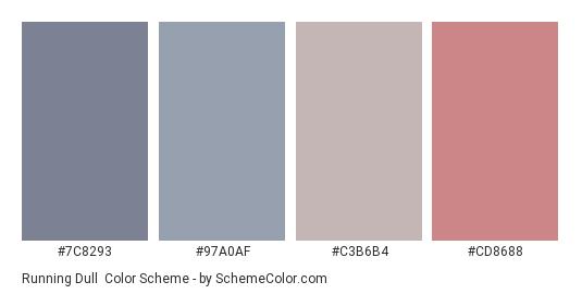 Running Dull - Color scheme palette thumbnail - #7C8293 #97A0AF #C3B6B4 #CD8688