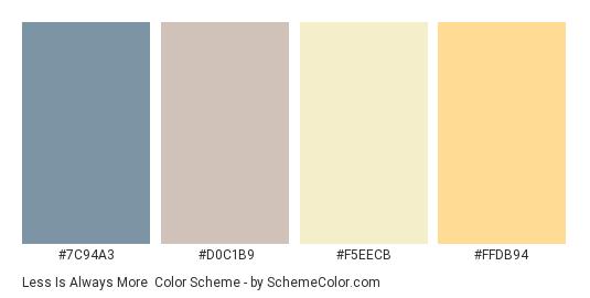 Less is Always More - Color scheme palette thumbnail - #7C94A3 #D0C1B9 #F5EECB #FFDB94