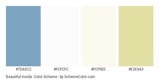 Beautiful Inside - Color scheme palette thumbnail - #7DA5C2 #FCFCFC #FCF9EE #E2E0A3