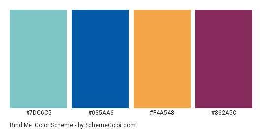 Bind Me - Color scheme palette thumbnail - #7DC6C5 #035AA6 #F4A548 #862A5C