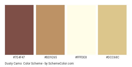 Dusty Camo - Color scheme palette thumbnail - #7E4F47 #BD9265 #FFFDE8 #DCC68C