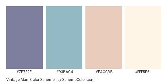 Vintage Man - Color scheme palette thumbnail - #7E7F9E #93BAC4 #EACCBB #FFF5E6