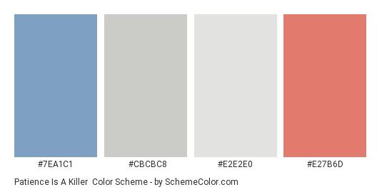 Patience is a Killer - Color scheme palette thumbnail - #7EA1C1 #CBCBC8 #E2E2E0 #E27B6D