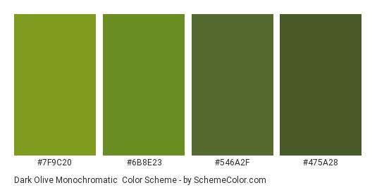 Dark Olive Monochromatic - Color scheme palette thumbnail - #7F9C20 #6B8E23 #546A2F #475A28