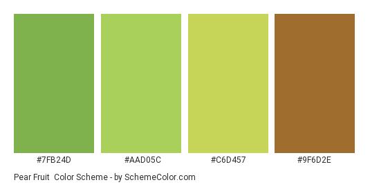 Pear Fruit - Color scheme palette thumbnail - #7FB24D #AAD05C #C6D457 #9F6D2E