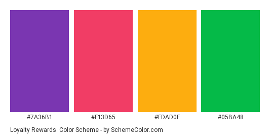 Loyalty Rewards - Color scheme palette thumbnail - #7a36b1 #f13d65 #fdad0f #05ba48