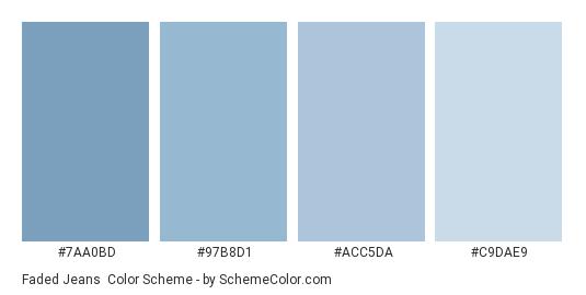 Faded Jeans - Color scheme palette thumbnail - #7aa0bd #97b8d1 #acc5da #c9dae9