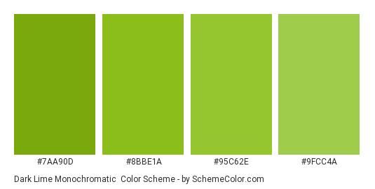 Dark Lime Monochromatic - Color scheme palette thumbnail - #7aa90d #8bbe1a #95c62e #9fcc4a