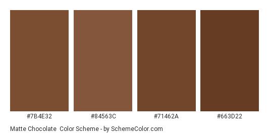 Matte Chocolate - Color scheme palette thumbnail - #7b4e32 #84563c #71462a #663d22