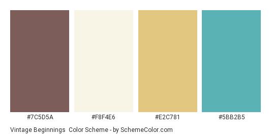 Vintage Beginnings - Color scheme palette thumbnail - #7c5d5a #f8f4e6 #e2c781 #5bb2b5