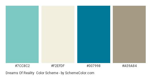 Dreams of Reality - Color scheme palette thumbnail - #7cc8c2 #f2efdf #007998 #a59a84