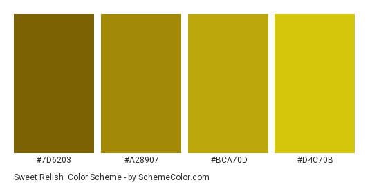 Sweet Relish - Color scheme palette thumbnail - #7d6203 #a28907 #bca70d #d4c70b