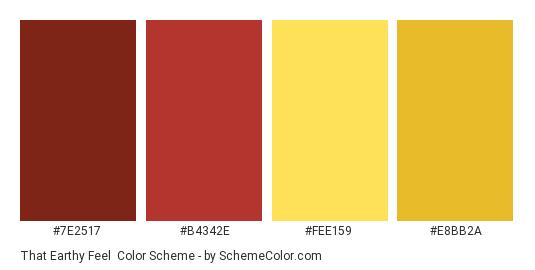 That Earthy Feel Color Scheme Palette Thumbnail 7e2517 B4342e Fee159